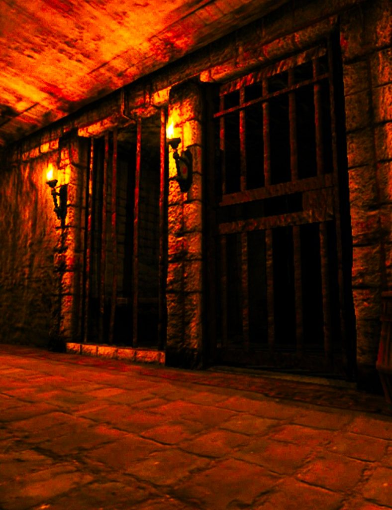 The lit dungeon cells of the Queen's dungeon in the Prophesy Tower Write a Novel Challenge Chapter 50