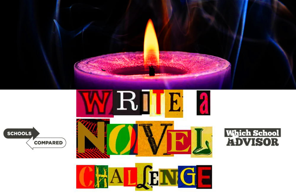 Write a Novel Challenge illustration of a candle flickering and its impact on memories and nagging thoughts