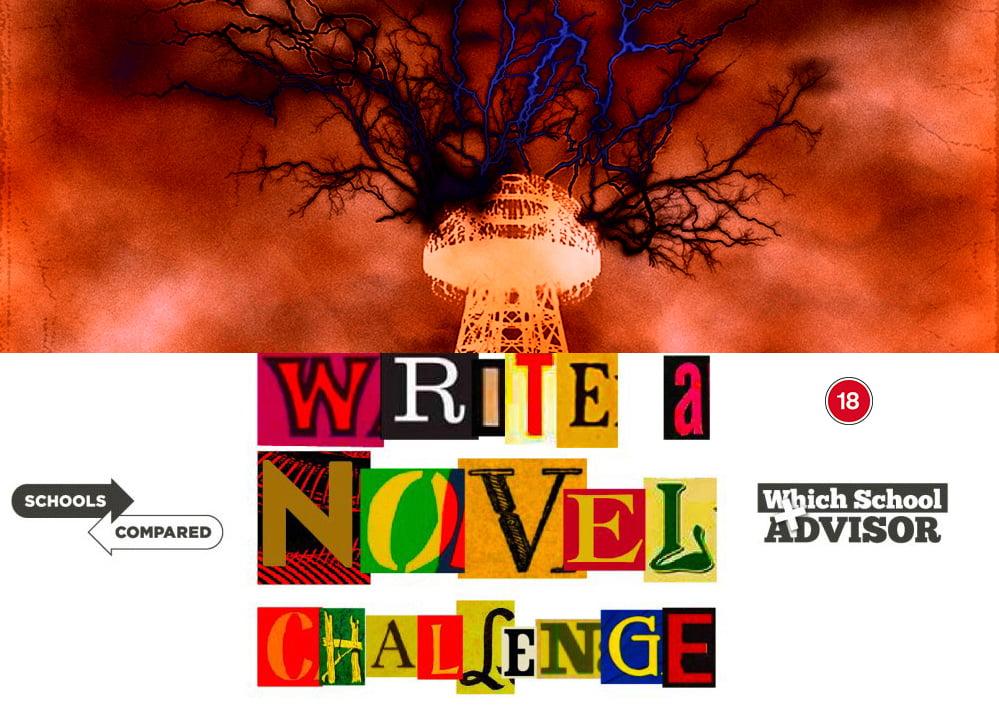 Schreiben Sie eine Novel Challenge-Illustration des Turms, während ein Blitz aus den Portalen der Mors-Welt entweicht