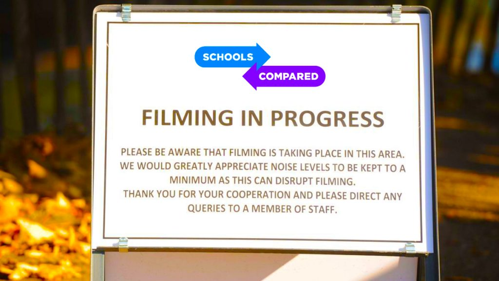 Choosing the Best Schools sign warning visitors that filiming is in progress during our interviews with the top leaders in education and schools across the UAE