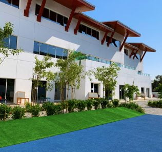 Main buildings at Safa British School in Dubai. Architecturally and thematically we rate this the most beautiful school in Dubai.