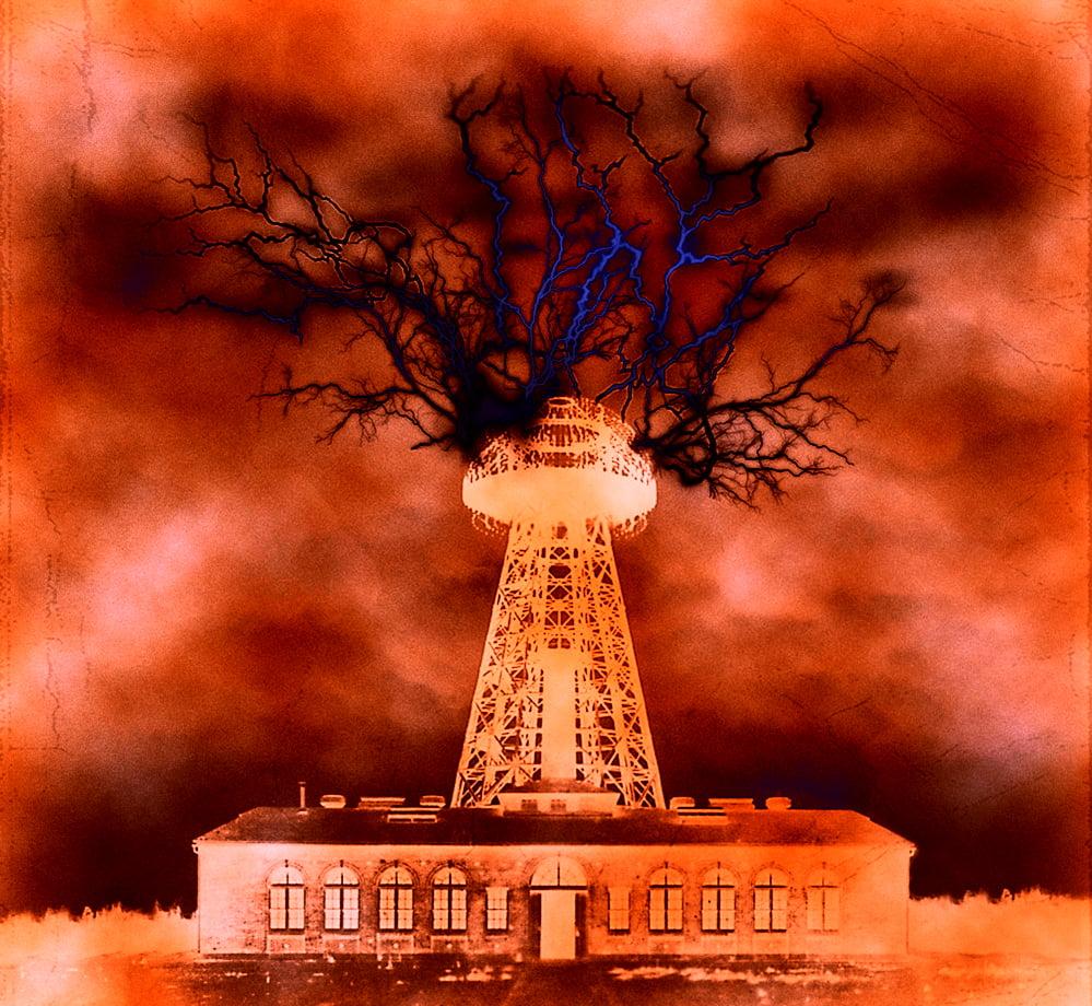 Schreiben Sie eine Novel Challenge-Illustration des Turms in der Mors-Welt, der blitzschnell explodiert, wenn die Portale gestrandet sind