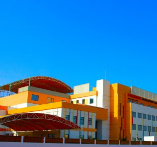 Photograph of the main school buildings of Ambassador International Academy school in Dubai