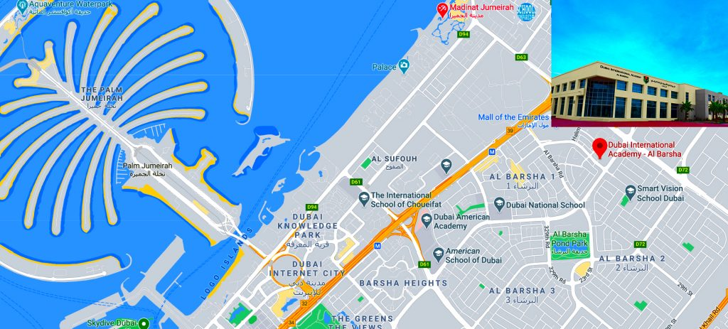 Map for parents showing location of and directions to Dubai International Academy Al Barsha in Dubai