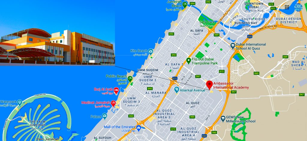 Map showing directions to and the location of Ambassador International Academy school in Dubai