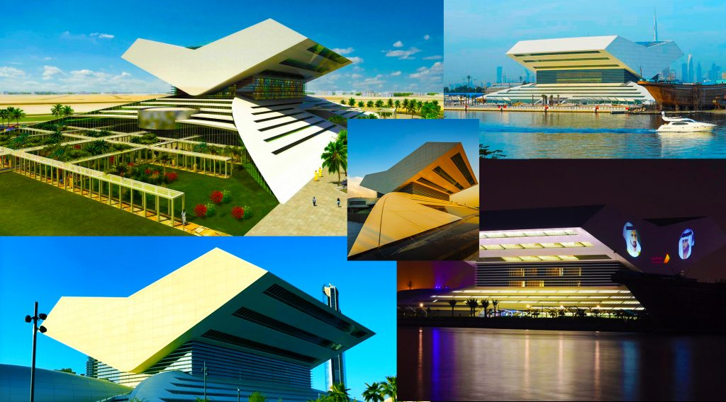 Collage of photographs of the new Mohammed Bin Rashid Library in Dubai due to open in 2022