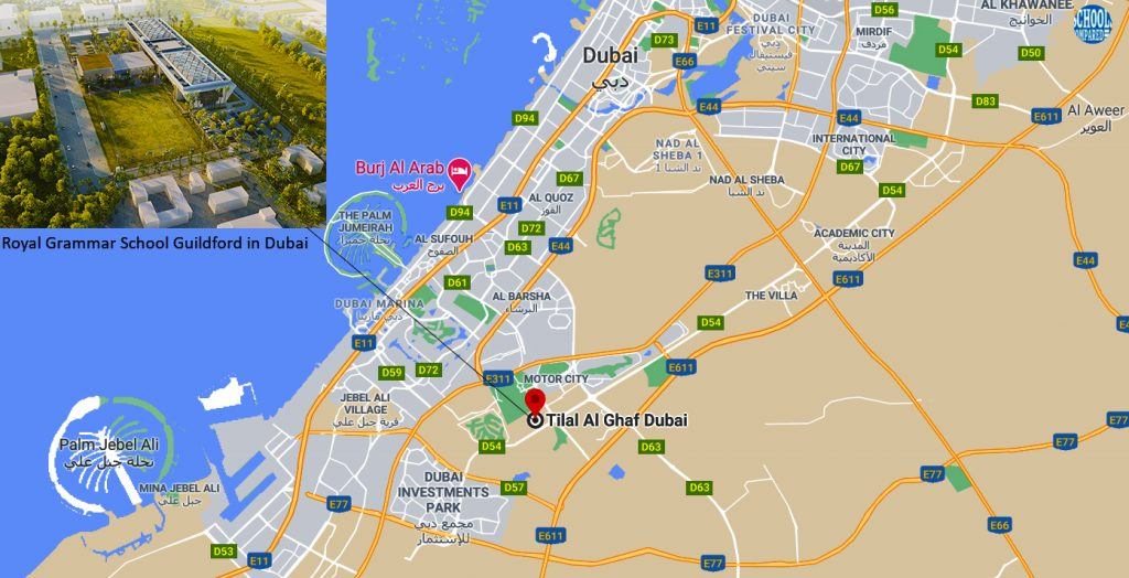 Directions to and map of Royal Grammar School Guildford in Dubai
