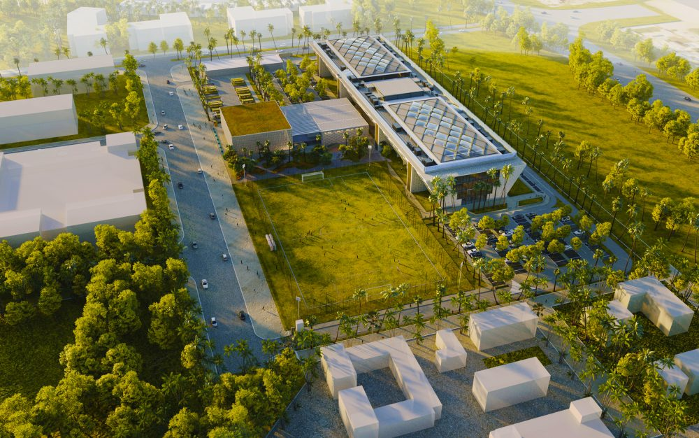 The Royal Grammar School Guildford in Dubai Aerial Photograph and render of the new Premium Tier 1 British School opening in Dubai in 2021