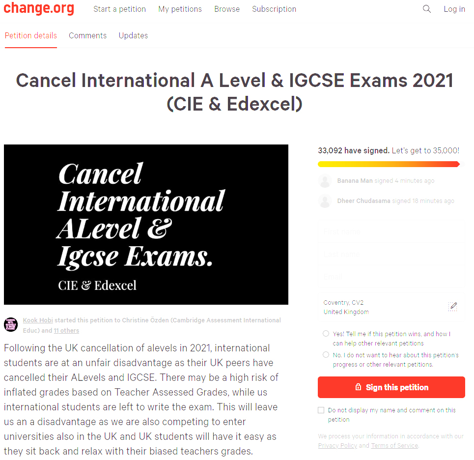 chnage.org petition to force Cambridge International Examinations to cancel international GCSE and A Level Examinations