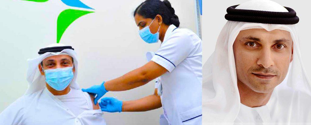 Photograph of Dr. Abdulla Al Karam, Director General of the KHDA, Dubai's redulator of schools, taking the vaccine for Covid 19 in Dubai 2021