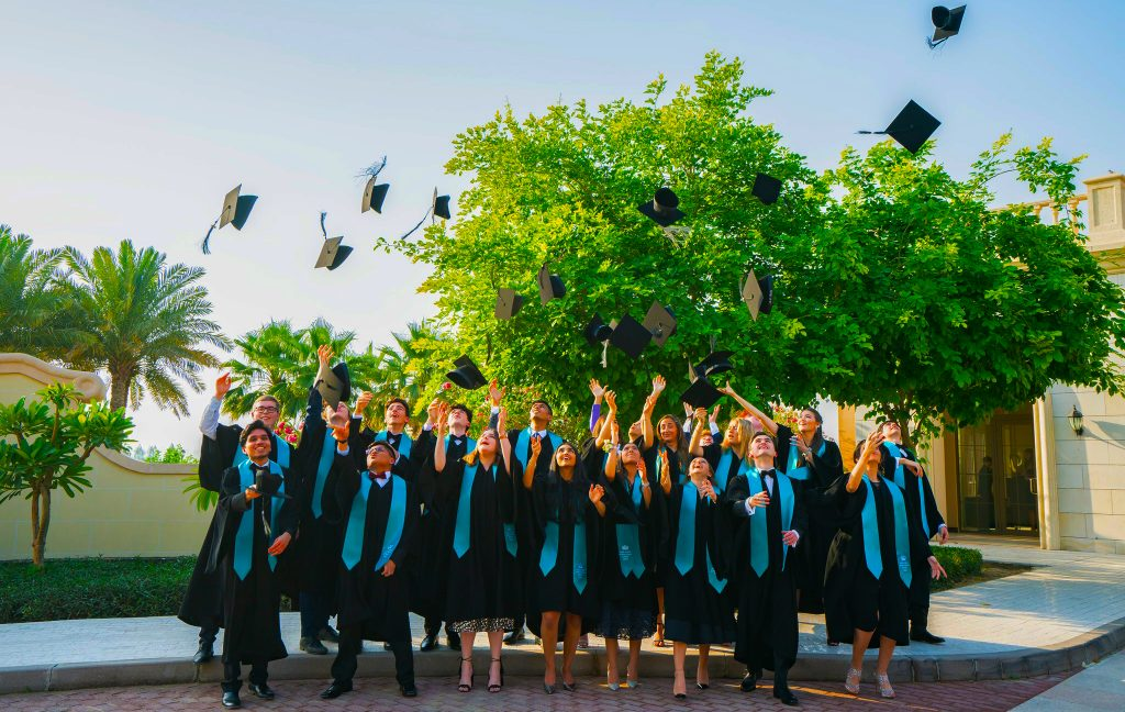 Photograph of students graduating from Nord Anglia International School in Dubai 2021
