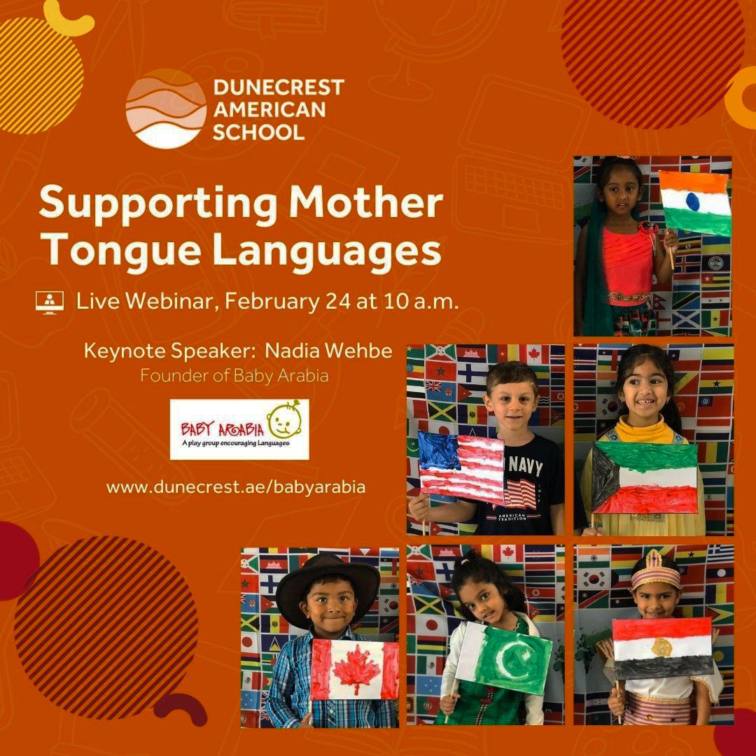 Mehrsprachige Familien. Unterstützende Veranstaltung für Muttersprachen an der Dunecrst American School in Dubai 2021