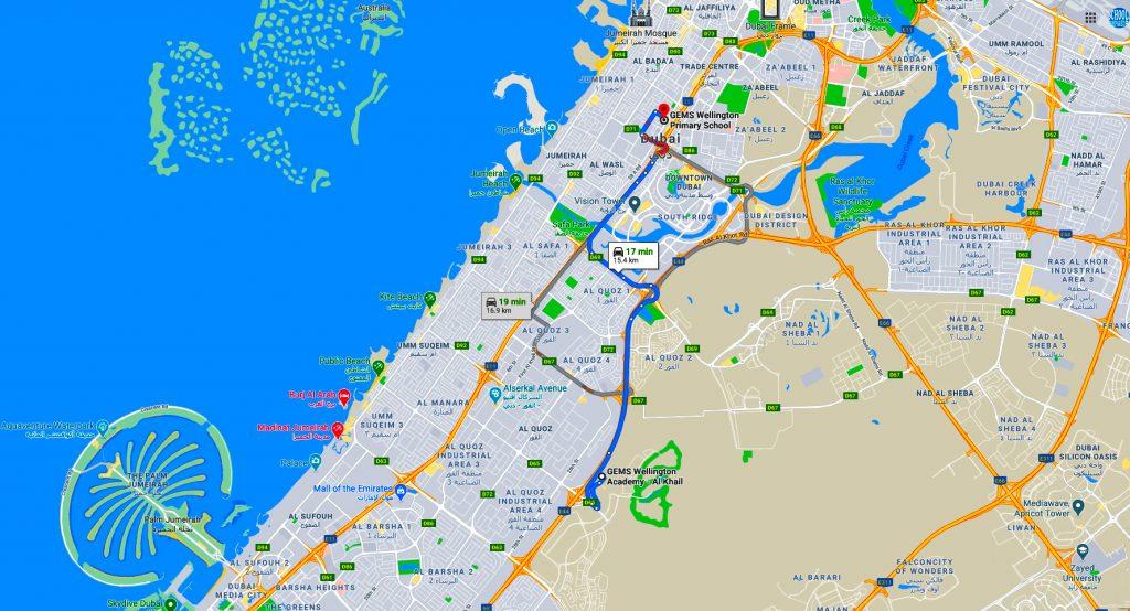 GEMS Wellington Primary School zu schließen. Karte zur neuen Schule in Al Kahil Kinder werden zu übertragen. Vollständige Wegbeschreibung.
