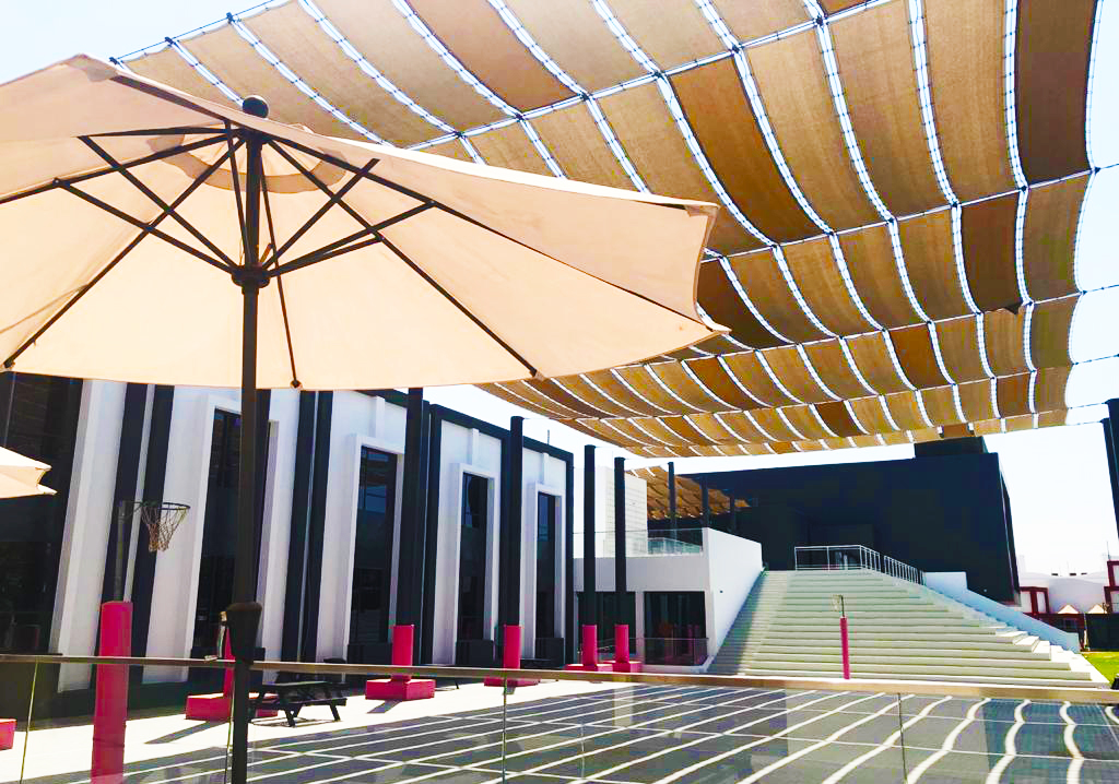 Care of students is stand-out with thoughtfulness everywhere including these illustrated shading sails to keep children protected from the strong Summer sun at the English College Dubai