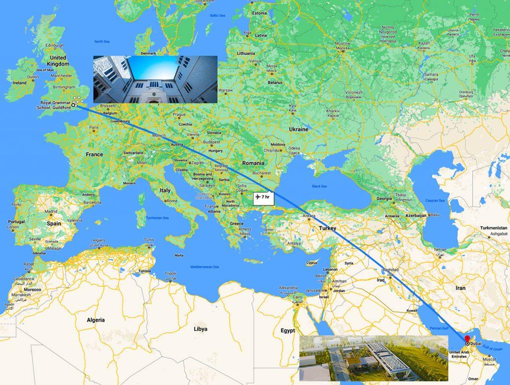 خريطة توضح الطريق بين لندن ودبي ومدرسة رويال جرامر جيلدفورد في المملكة المتحدة ومدرسة رويال جرامر جيلدفورد دبي
