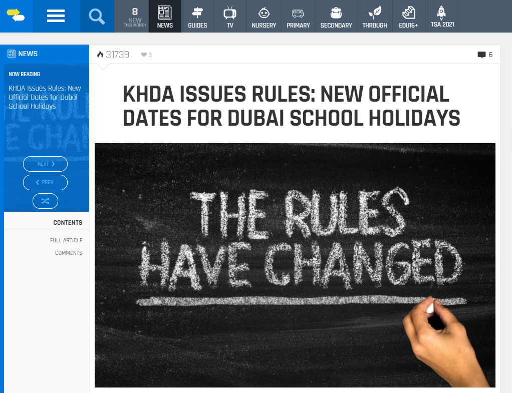 New school holiday rules in the UAE