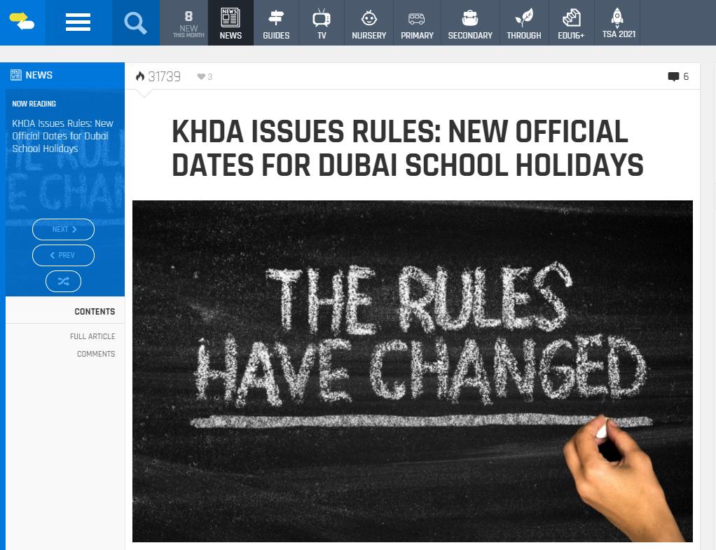 Mga panuntunan sa bagong holiday sa paaralan sa UAE