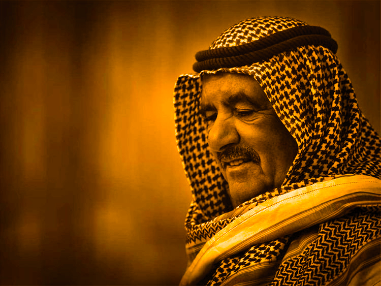 Foto des verstorbenen Scheichs Hamdan Bin Rashid Al Maktoum, der heute im März 2021 verstorben ist