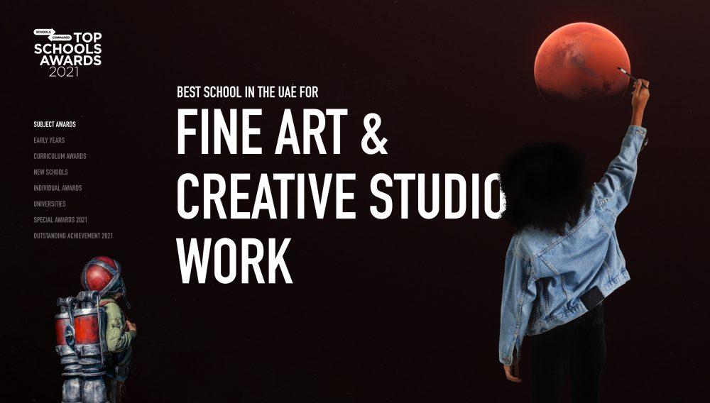 Entry para sa para sa SchoolsCompared.com Mga Nangungunang Mga Gantimpala ng Mga Paaralan 2021 Award para sa Pinakamahusay na Paaralan sa UAE para sa Fine Art at Creative Studio Work
