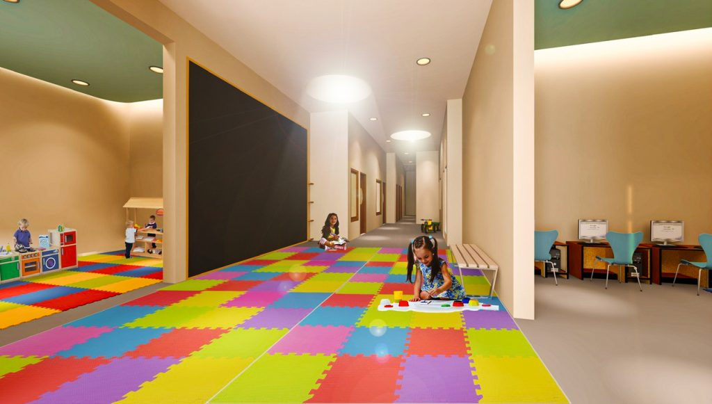 مساحات الاستراحة مفتوحة من الفصول الدراسية لتعليم الأطفال في مدرسة المرحلة التأسيسية الجديدة فيكتوري هايتس في دبي