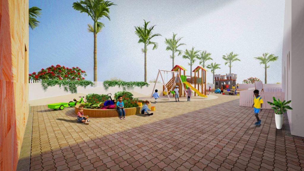 عرض معماري لمساحات Discover and Play الخارجية الجديدة في مدرسة Victory Heights Foundation Stage في دبي ، مدرسة FS الشقيقة لمدرسة فيكتوري هايتس الابتدائية.