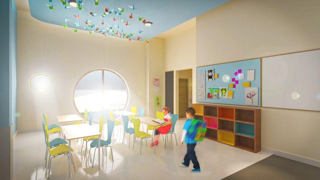 تعتبر الفصول الدراسية التي يغمرها الضوء الطبيعي سمة بارزة لمدرسة فيكتوري هايتس المرحلة التأسيسية الجديدة التي افتتحت في دبي في أغسطس 2021