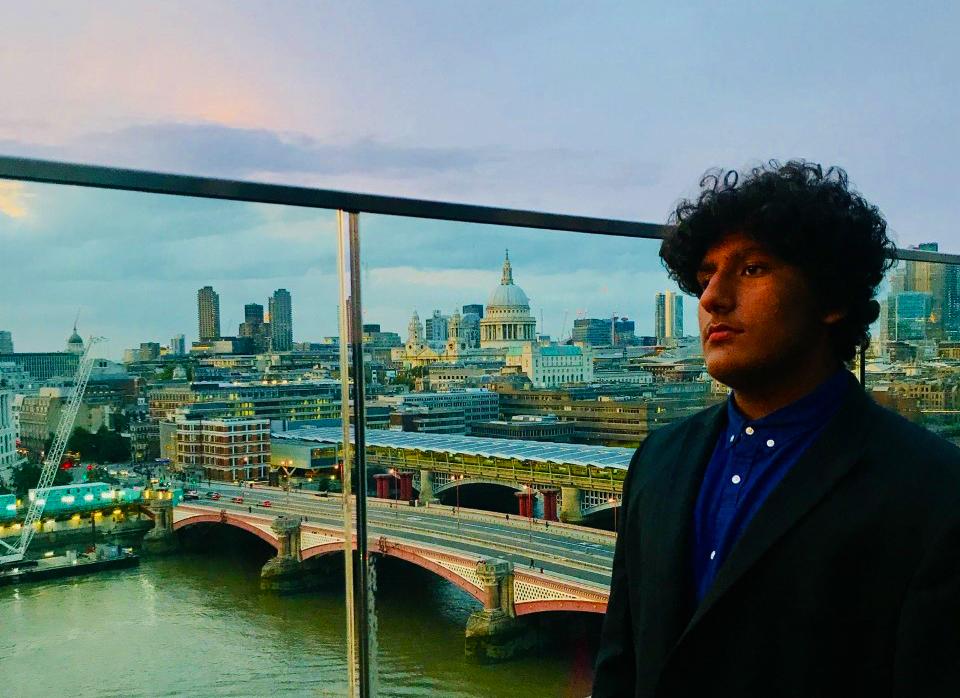 Photograph of Rajan Sehmi at the Financial Times London as part of a landmark internship programme at GEMS FirstPoint School Dubai