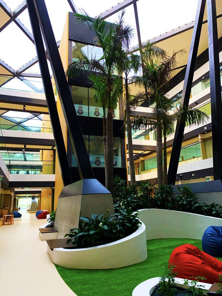 Photograph of the central atrium of RGS Dubai